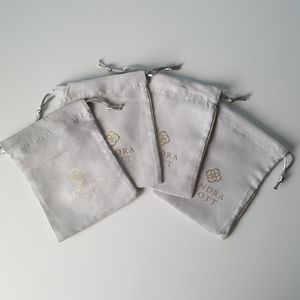 4 NEW Kendra Scott Gray & Gold Cloth Jewelry Bags